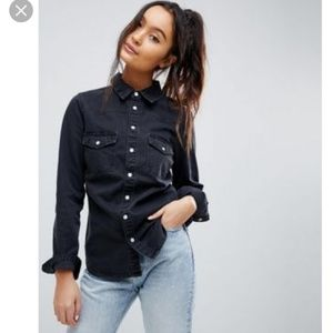 ASOS denim fitted western shirt in washed black